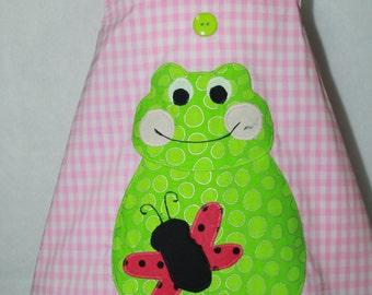 Baby girl Sundress, Toddler girl Sundress, Appliqued Frog,Pink Gingham dress, Pink Jumper, Butterfly Applique dress,beach dress,Infant dress