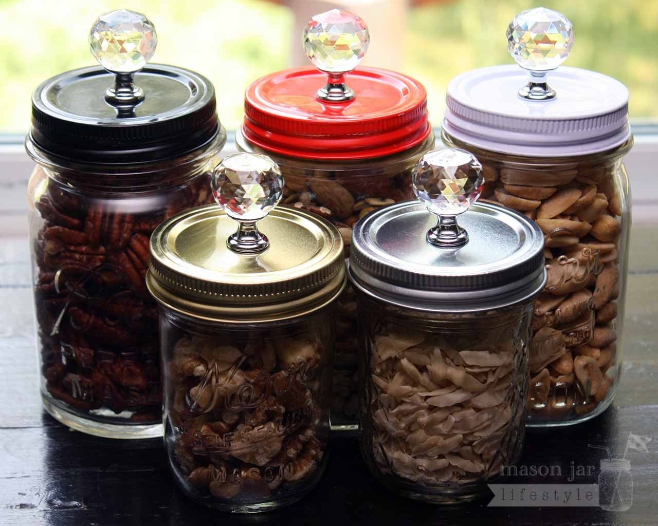 mason jar canister lids 4 pack crystal knob lids for regular. Black Bedroom Furniture Sets. Home Design Ideas