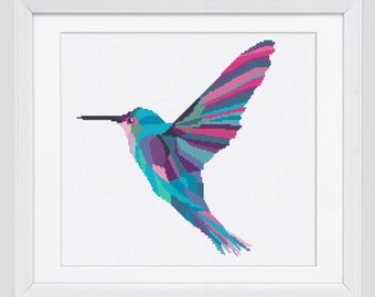 Modern Cross stitch pattern, Hummingbird counted cross stitch, hummingbird modern cross stitch pattern