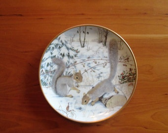 Peter Barret, The Woodland Year, Squirreling for Nuts in January,  Calendar Plate  Franklin Porcelain