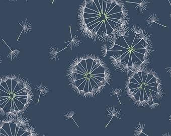 Tiny Dancer Midnight Art Gallery Sketchbook  - 10.50 Yard - Navy and White Dandelions