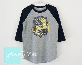 Hufflepuff shirt kids raglan shirt +toddlers tshirts +boys girls clothes