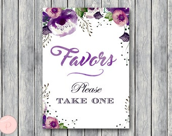 Purple Floral Favors Sign, Wedding Favor sign, Engagement party favor sign, Printable sign, Wedding decoration sign  WD83 TH43