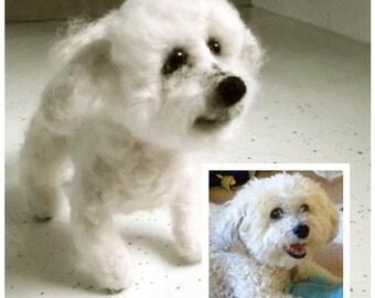 custom pet - OOAK wool needlefelt dog