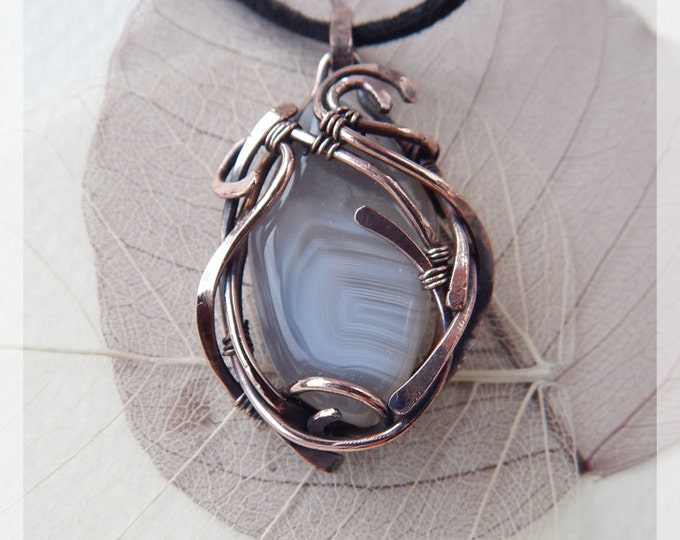 Graceful Gray agate Pendant,Elegant gift idea,Copper Wire winding, Fantasy style, Ooak,Birthstone, Eco jewelry,Gift for her,Natural gemstone