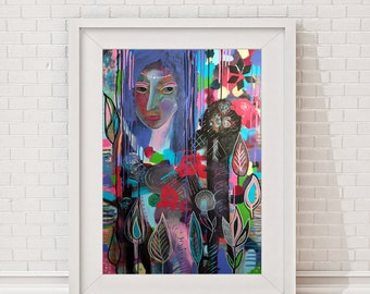 """wall decor, wall hanging, wall art, giclee, giclee print, giclee poster, """"woman in flowers"""", portrait, modern art, abstract art"""