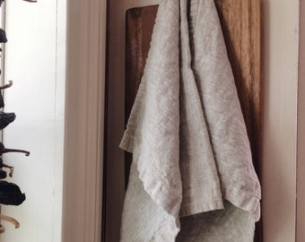 2pc Flax Linen Tea towel set for the kitchen / beatiful - rustic - earth conscious
