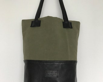Waxed canvas and leather tote bag