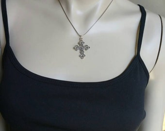 Sterling Silver Fine Chain with Sterling Cross Pendant