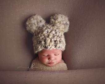 Newborn Chunky Double Pom Beanie, Newborn Photo Prop, Crochet Newborn Hat, Handmade, Photography Prop, Newborn Photography, Photo Prop