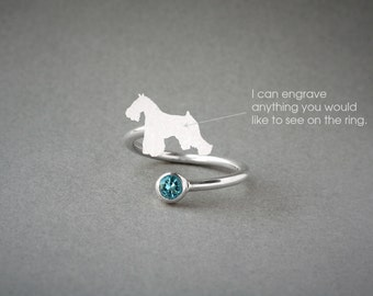 Adjustable Spiral SCHNAUZER BIRTHSTONE Ring / Schnauzer Birthstone Ring / Birthstone Ring / Dog Ring