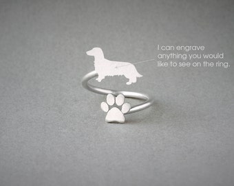 Adjustable Spiral DACHSHUND LONGHAIRED  and PAW Ring / Doxie Longhaired  Ring / Paw Ring /Dog Ring / Silver, Gold Plated or Rose Plated.
