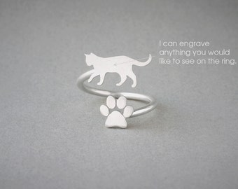Adjustable Spiral SHORTHAIRED CAT and PAW Ring / Shorthaired Cat Ring / Paw Ring / Cat Ring / Silver, Gold Plated or Rose Plated.