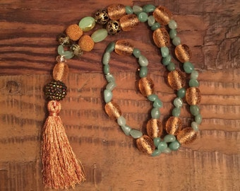 Green Stones and Copper Bead Necklace