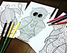 Pack of three- Owl, Elephant and Turtle printable adult coloring page for relaxation, meditation, fun- zentangle, doodle, mandala designs