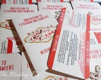 Las Vegas Passport & boarding pass wedding invitations- fully customisable