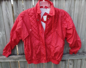 1980's PETITE Sophisticate red quilted nylon jacket coat - women's petite -