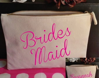Custom Bridesmaid Makeup Bag. Bridesmaid Cosmetic Bag. Custom Bridesmaid Gift. Custom Maid Of Honor Gift. Personalized Wedding Gift.