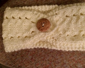 Neutral Headband with Wooden Button - adult size