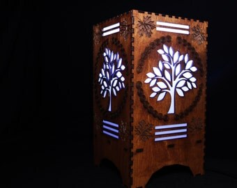 Bluetooth Speaker Lamp, Colour Changing LED Light with or without Speaker Bulb, Autumn Tree Wood Carving Desk Lamp Android and IOS app