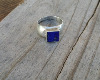 Sterling silver ring 925 blue lapis square ring size 8 ring GL720