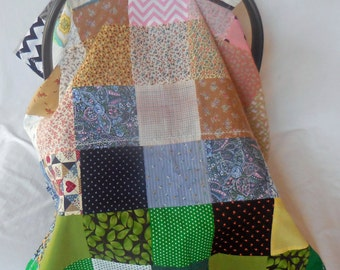 5 Patch quilt in floral & earth tones baby car seat cover/canopy