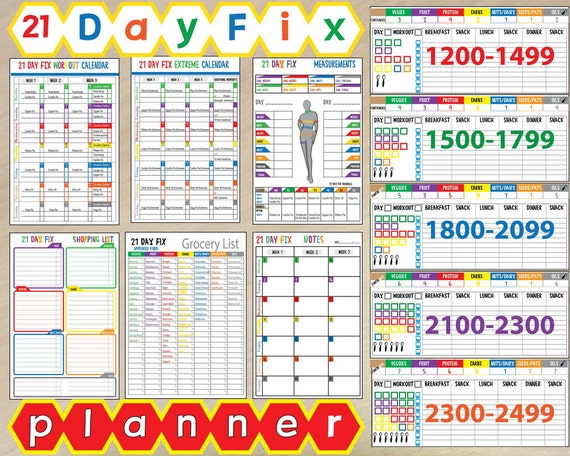 21 day fix tracking sheets pdf