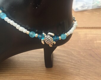 Anklet Ankle Bracelet Turquoise Anklet Beaded Anklet Turquoise Turtle Anklet Turtle Charm Turtle Jewelry (ank-97)