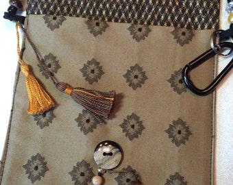 OOAK!! Gold and Brown Messenger Bag