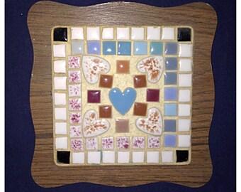 Vintage Wooden Square Trivet with Ceramic Mosaic Tiles.