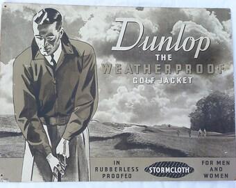 Vintage Original 1950/1960's Dunlop Golf Showcard Sign