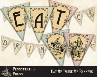 Alice In Wonderland Eat Me Drink Me Printable Banners Bunting Party Decoration Supplies Instant Digital Download