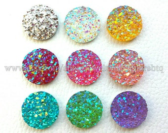 20pcs 12mm Faux Druzy Cabochons Drusy AB Cabochon Iridescent Glitter Kawaii Resin Embellishments Mermaid Deco Jewelry Craft Supplies
