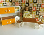 Vintage Italian FRADE DOLLHOUSE KITCHEN Furniture in Wood and Plastic for 57 dolls like Dawn Lottie Mini American Girl and Pippa