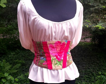 Pink corduroy corset, colourful underbust corset, women's clothing, gift for her by RedWings