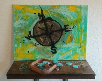 Compass Acrylic Painting, Nautical Painting