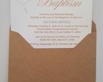 Baptism Invitation-Includes THANK YOU CARDS, Envelopes, Seal Stickers, & Address labels