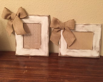 Rustic frame with burlap bow
