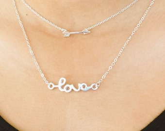 SALE... Love Cursive Necklace, Sterling Silver Chain, Simple