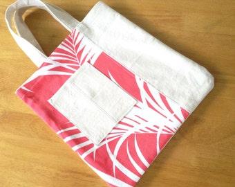 Hawaiian Small Canvas Tote with Pocket Coral Red Palm Leaf Hawaiian Print Kids Tote Bag Mini Tote Bag Made in Hawaii Tropical Tote