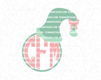 Elf hat svg - elf hat monogram svg - elf monogram svg - Christmas monogram svg - Christmas dxf - monogram dxf files - Zemma Designs
