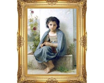 The Little Knitter William Bouguereau Framed Canvas Art Print Young Girl Painting Reproduction - Sizes Small to Large - M00873