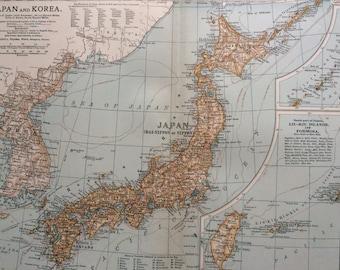 1903 JAPAN & KOREA map, antique, original, colour, historical