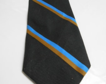 Baskin Black Polyester Necktie w/ Blue and Brown Stripes 1960's
