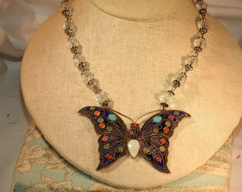 stunning one of a kind handmade sterling silver enamel and crystal necklace