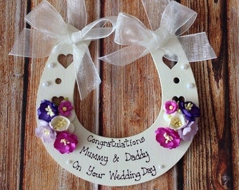 Personalised Wedding Horseshoe  keepsake gift to bride and groom on their Special Day