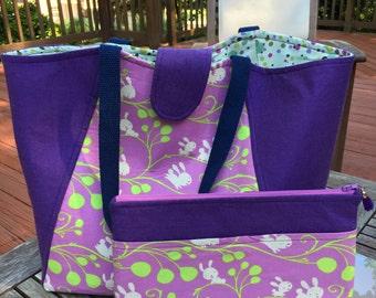 Purple Tote Bag,Diaper Bag, Travel Bag, Beach Bag, Hand Bag