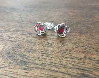 faux red gem floret earrings
