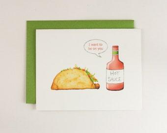 Taco Hot Sauce Anniversary Card, Taco Card, Hot Sauce Card, Witty Card, Sexy Anniversary Card, Spicy Card, Funny Anniversary, Taco, Sriracha