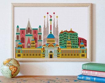 Barcelona cross stitch pattern| Travel landmark monument Spain counted chart| Europe world tourism design house decor| Instant download pdf